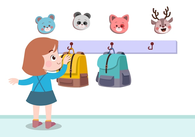 Kid suspendus illustration vectorielle de sac isolé