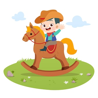 Kid vector illustration de cheval isolé