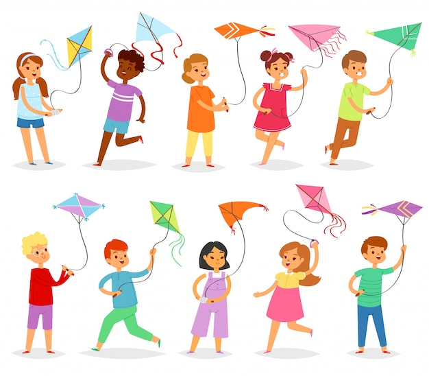 Kids kite child character boy or girl playing and childly kiteflying activité illustration set of children with kites game on white background
