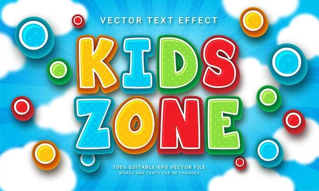 Kids zone 3d effet de style de texte sur le thème enfant heureux