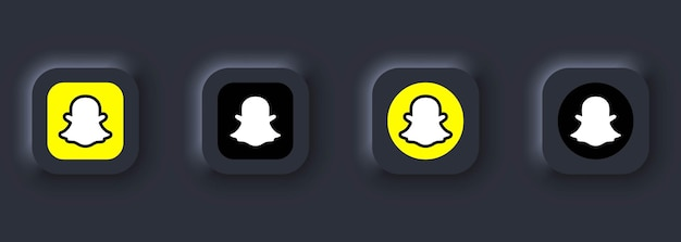 Kiev, ukraine - 12 mars 2021 ensemble d'icônes snapchat. icônes de médias sociaux. ensemble snapchat réaliste. neumorphic ui ux interface utilisateur blanche. style de neumorphisme.