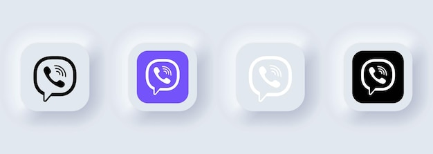 Kiev, ukraine - 22 février 2021 : ensemble d'icônes viber. icônes de médias sociaux. ensemble réaliste. neumorphic ui ux interface utilisateur blanche. style de neumorphisme.