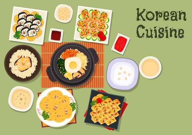 Kimbap de sushi de cuisine coréenne avec bibimbap de riz aux légumes mélangés, rouleau frit aux légumes, riz au poulet et aux champignons, omelette aux légumes, bouillie de riz, crêpe de haricots au bacon