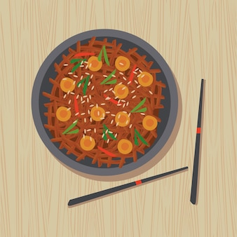 Kimchi délicieux avec des baguettes