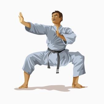 Kimono homme karaté blanc avec ceinture noire debout et pratiquant sur le ring, champion du monde. illustration vectorielle de karaté formation concept. kungfu, ninja, combattant.
