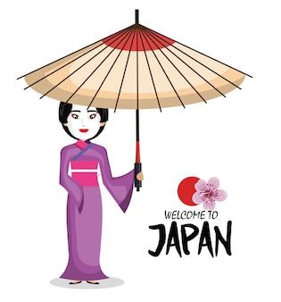 Kimono japonais fille bienvenue icône du japon