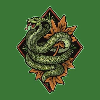 King cobra serpent et feuilles d'automne cartoon illustration