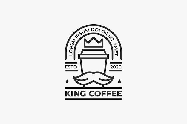 King coffee shop logo monochrome simple