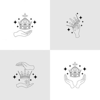 King hand crown logo modèle modifiable thème boho