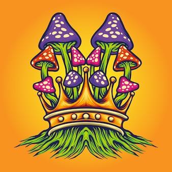 King mushrooms oyster illustrations vectorielles pour votre travail logo, t-shirt de mascotte, autocollants et conceptions d'étiquettes, affiche, cartes de voeux faisant la publicité d'une entreprise ou de marques.