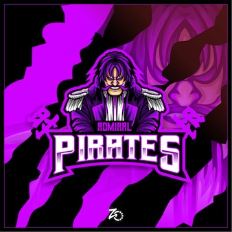 King Of Pirate Admiral Gaming Esports Vecteur Premium