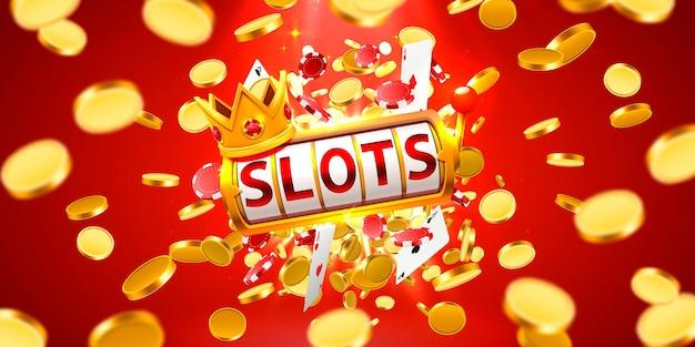 King slots 777 banner casino sur fond rouge. illustration vectorielle