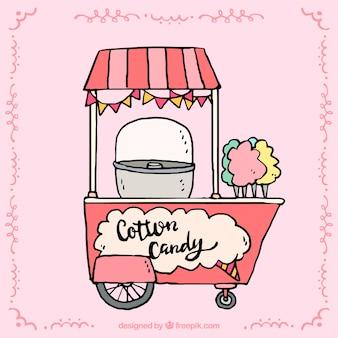 Kiosque à base de coton avec auvent et roues