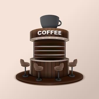 Kiosque à café avec grande tasse sur le toit