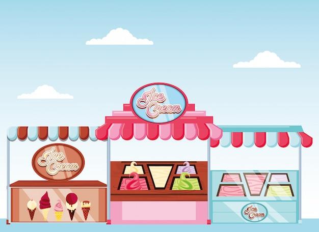 Kiosque à glace et vitrine