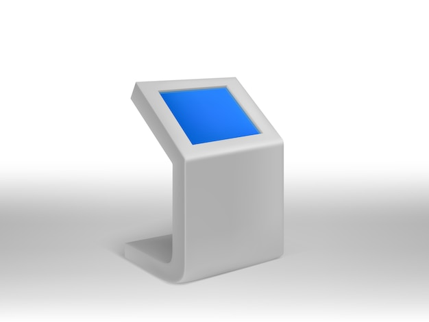 Kiosque d'information numérique réaliste 3d, affichage numérique interactif avec écran blanc bleu.
