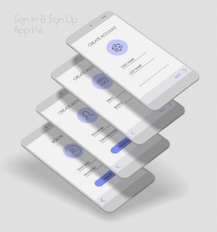Kit 3d d'écrans de connexion et d'inscription à l'interface utilisateur de l'application mobile