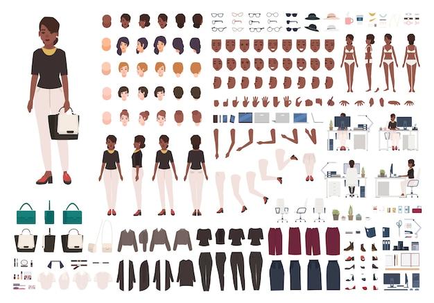 Kit de bricolage ou d'animation de secrétaire, gestionnaire ou assistant de bureau afro-américaine