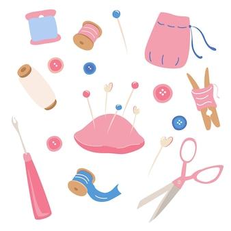 Kit de couture icons set hobby outils affiche couture sur mesure couture à la main passe-temps couture