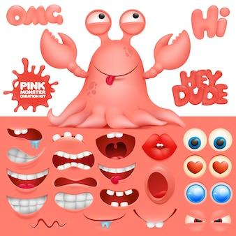 Kit de création de personnage de dessin animé monstre crabe poulpe.