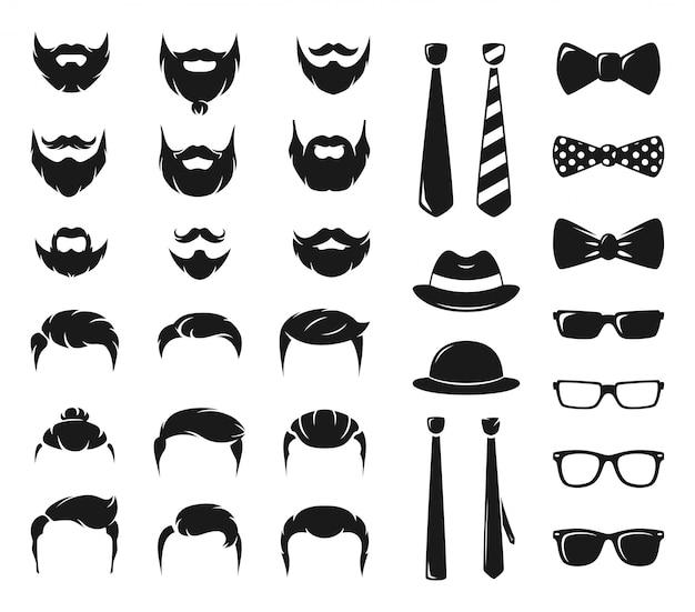 Kit de création de portraits hipster. constructeur monochrome avec moustache masculine, barbe et coupe de cheveux