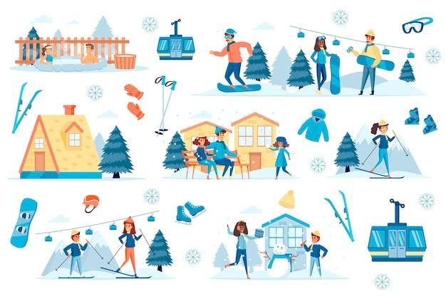 Kit de création de scènes à plat pour station d'hiver