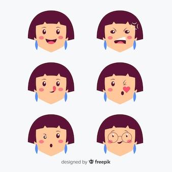 Kit d'expression faciale kawaii dessiné à la main