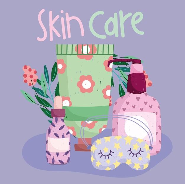 Kit floral d'accessoires cosmétiques pour le soin de la peau