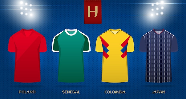 Kit de football ou modèle de maillot de football pour la coupe du monde 2018.