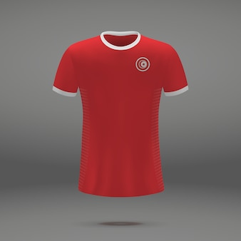 Kit de football de la tunisie, modèle de tshirt pour maillot de football