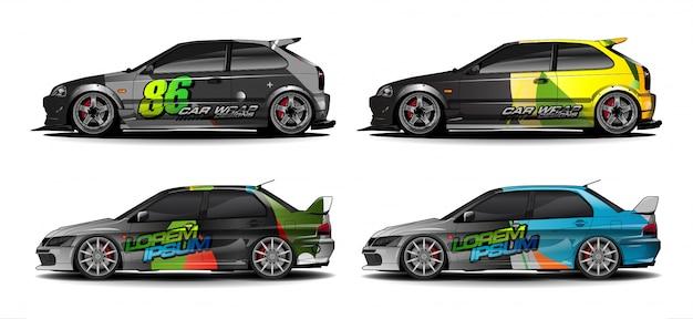 Kit graphique de véhicule. abstrait incurvé pour la conception de décalcomanies voiture de course, fourgonnette et camion