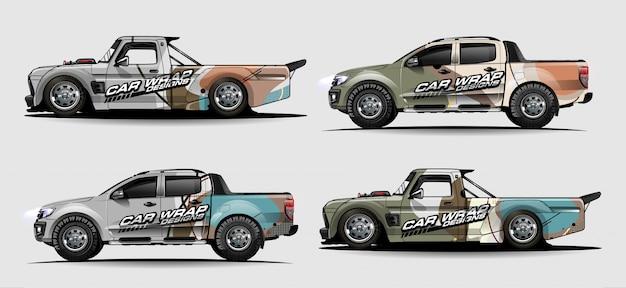 Kit graphique de véhicule. lignes abstraites avec fond en forme de courbe pour voiture de course, camionnette et camionnette