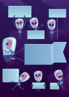 Kit d'illustrations de personnage de dessin animé 2d expression émotion martienne