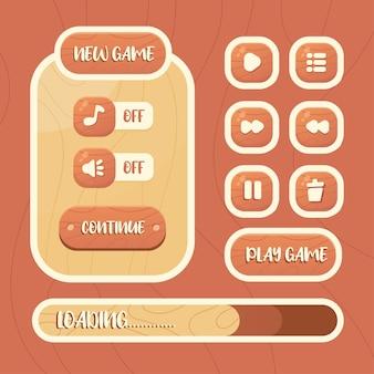 Kit d'interface graphique de modèle de jeu de vecteur