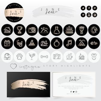 Kit de marque féminine avec jeu d'icônes moderne