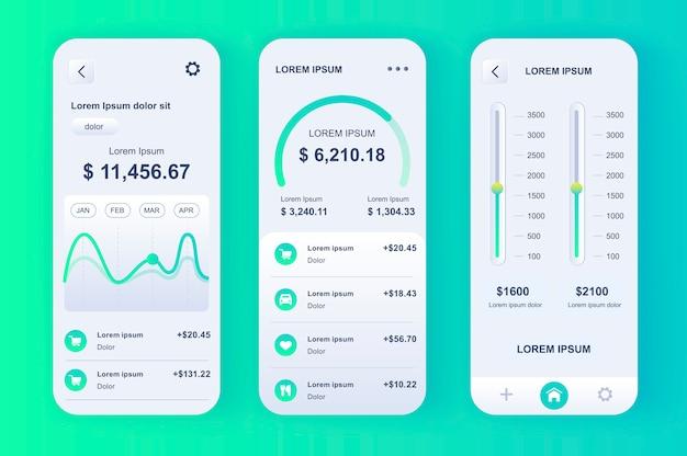 Kit néomorphique smart finance manager. suivi des comptes bancaires, application de budgétisation, planification financière et paramétrage des limites. ui de banque en ligne, ensemble de modèles ux. gui pour une application mobile réactive.