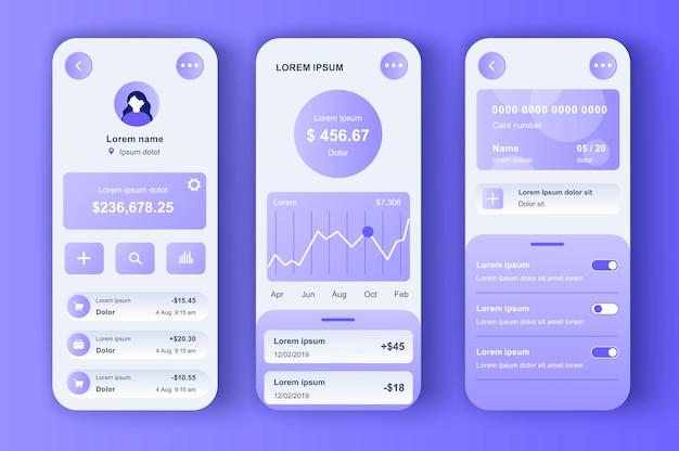 Kit néomorphique unique de banque en ligne. application de finance intelligente avec gestion des transactions et affichage des activités de compte. interface de gestion financière, ensemble de modèles ux. gui pour une application mobile réactive.