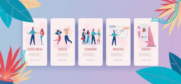Kit de pages d'application mobile pause-café, succès