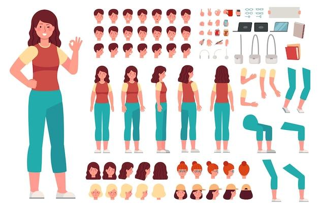 Kit de personnage féminin de dessin animé. parties du corps d'animation de femme. constructeur de fille avec des gestes de la main et divers ensembles de vecteurs de têtes. fille à faire soi-même, générateur de dessins animés et illustration de création