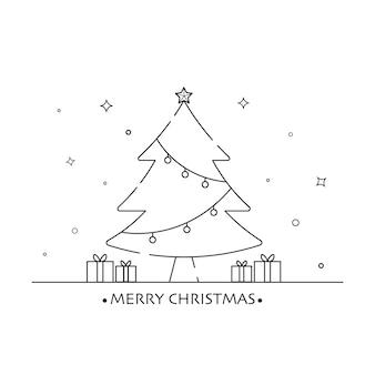 Kit de signe de contour de noël simple arbre de noël symbole arbre icône plate vector illustration