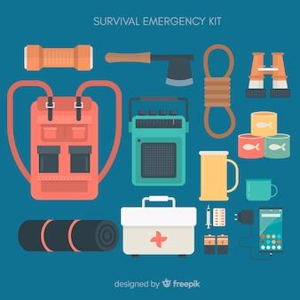 Kit de survie d'urgence plat créatif