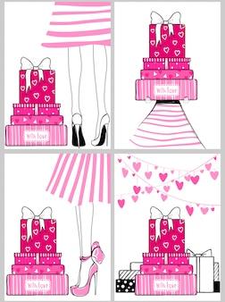 Kit de vecteur de cartes de souhaits romantiques fashion