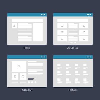 Kits d'interface utilisateur pour la carte du site et la conception de ux