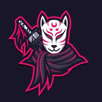 Kitsune mask assassin gaming logo