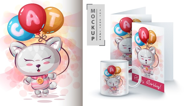 Kitty avec affiche de ballon à air et merchandising