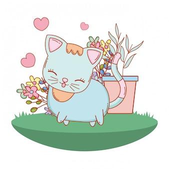 Kitty cat cartoon en plein air