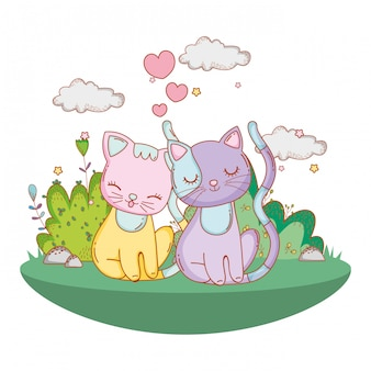Kitty cats in love cartoon extérieur