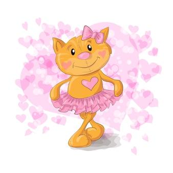 Kitty mignon avec des coeurs. illustration vectorielle