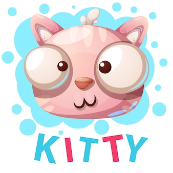Kitty mignon, personnages de chat - illustration de dessin animé