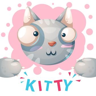 Kitty mignon, personnages de chat - illustration de dessin animé